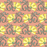Floral seamless texture. Pattern in art-nouveau style with yellow poppy ornament Stock Image