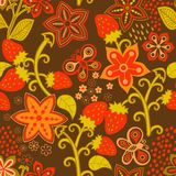 Floral Seamless Texture with a Strawberry. Bright background, su Royalty Free Stock Images