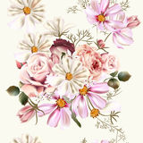 Floral seamless vector pattern with flowers in watercolor style Royalty Free Stock Image