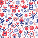 Floral seamless vector pattern - hand drawn vintage Scandinavian style textile design with red and navy blue flowers on white stock illustration