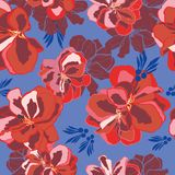 Floral seamless vector pattern with red geranium. stock illustration