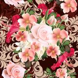 Floral  seamless vector  pattern with  rose flowers Stock Images