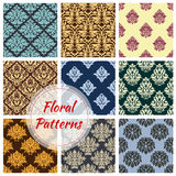 Floral seamless vector patterns of flower ornament Royalty Free Stock Images