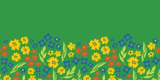 Floral seamless vector repeat border. Hand drawn summer flowers background green, yellow, blue. Scandinavian doodle flat ditsy stock illustration