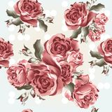 Floral seamless vector wallpaper pattern with roses in vintage s Royalty Free Stock Images