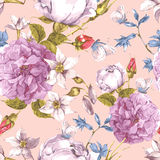 Floral Seamless Vintage Background with Roses Stock Image