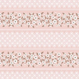 Floral seamless vintage patte Stylized silhouettes of flowers and branches on a pink background. green, white flowers and leaves. Stock Photography