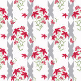 Floral seamless vintage patte Stylized silhouettes of flowers and branches on a  white background.   flowers and leaves. Stock Images