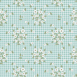 Floral seamless vintage patte Stylized silhouettes of flowers and branches on a white background. green, white flowers and leaves. Royalty Free Stock Photography
