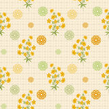 Floral seamless vintage pattern.Stylized silhouettes of flowers and a branch on a beige background Stock Photography