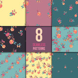 Floral Seamless Vintage Wildflowers Pattern Set Stock Images