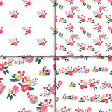 Floral Seamless Vintage Wildflowers Pattern Set Stock Photo