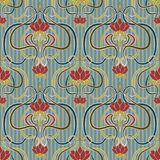 Floral seamless wallpaper in art nouveau style, vector Royalty Free Stock Photography
