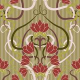 Floral seamless  wallpaper in art nouveau style Royalty Free Stock Photo