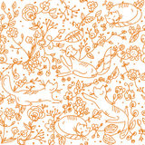 Floral seamless wallpaper with cats stock illustration