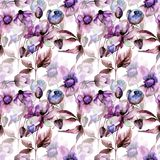 Floral Seamless wallpaper. Watercolor illustration Royalty Free Stock Photo