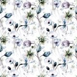 Floral seamless wallpaper with flowers. Watercolor illustration Stock Image