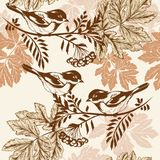 Floral seamless wallpaper pattern with birds. Vector seamless wallpaper pattern with birds and leafs Royalty Free Stock Images