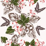 Floral seamless wallpaper pattern with flowers and butterflies Royalty Free Stock Photography
