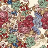 Floral seamless wallpaper pattern with flowers Royalty Free Stock Photos