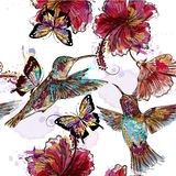 Floral seamless wallpaper pattern with hummingbirds Stock Photos