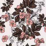 Floral seamless wallpaper pattern with pink flowers Royalty Free Stock Photo
