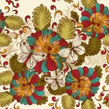 Floral seamless wallpaper pattern in vintage style Stock Images