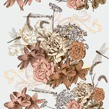 Floral seamless wallpaper pattern in vintage style Royalty Free Stock Photo