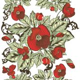 Floral seamless wallpaper  with red  flowers Royalty Free Stock Image
