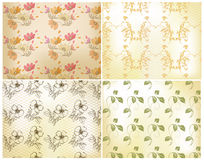 Floral seamless wallpaper set Royalty Free Stock Image