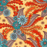 Floral seamless. Seamless floral wallpaper tile in blue and orange vector illustration