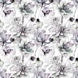 Floral seamless wallpaper. Watercolor illustration Stock Image