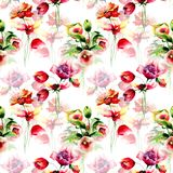 Floral Seamless wallpaper. Watercolor illustration Stock Photo