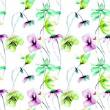 Floral seamless wallpaper. Watercolor illustration, Tile for wallpaper or fabric Stock Image