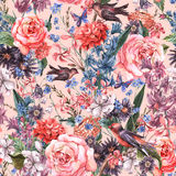 Floral seamless watercolor background Royalty Free Stock Photo