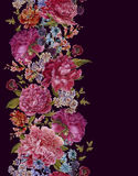 Floral Seamless Watercolor Border with Burgundy Stock Image