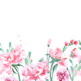 Floral Seamless Watercolor Border with peonies. Watercolor Vector . Floral Seamless Watercolor Border with peonies. Watercolor Vector Illustration Royalty Free Stock Photos