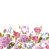 Floral Seamless Watercolor Border with Roses Stock Photos