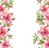 Floral seamless watercolor frame border with pink flowers. Aquarel Royalty Free Stock Photos