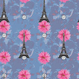 Floral seamless watercolor pattern. With eiffel tower  for design Stock Image