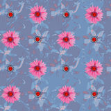 Floral seamless watercolor pattern. Floral seamless pattern with gems for design Stock Image