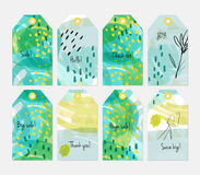 Floral seasonal with sketched berry green yellow tag set. Creative universal gift tags.Hand drawn textures.Ethic tribal design.Ready to print sale labels  on Royalty Free Stock Images