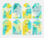 Floral seasonal with sketched dandelion yellow green tag set. Creative universal gift tags.Hand drawn textures.Ethic tribal design.Ready to print sale labels Stock Image