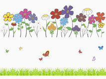 Floral set. Background - floral cartoon  set with flowers, grass and butterflies Royalty Free Stock Images