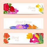 Floral set of banners for flower shops or invitation cards. Beautiful oriental floral pattern and delicate ornament stock illustration