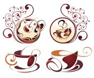 Floral set of coffee cup design Stock Photos