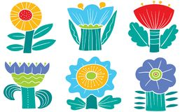 Floral Set. Collection With Abstract Flowers And Leaves.Vector Illustration In Minimalistic Flat Style Stock Image