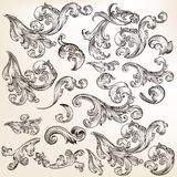 Floral set of  decorative swirl elements in vintage style. Vector set of swirl elements for design. Calligraphic Royalty Free Stock Images