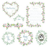 Floral set of design elements and frames for the wedding or holi Royalty Free Stock Photo