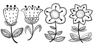 Floral set in doodle style. Design elements with abstract  flowe Royalty Free Stock Photos